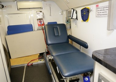 Inside of the medical bus