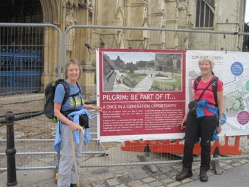 Setting off from Gloucester Cathedral to walk to Hereford then Worcester
