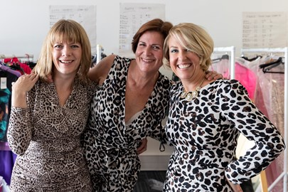 The fitting at Breast Cancer Care's headquarters. Three models trying animal prints...