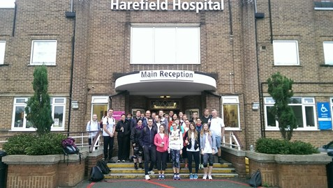 The walkers about to head off from Harefield Hospital in Hillingdon
