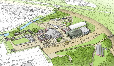 Proposed aerial view of Brooklands Museum on completion