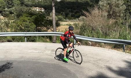 Cycling up Col d'Honour, Mallorca