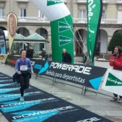 Ana finishing a marathon in her home town of A Coruna