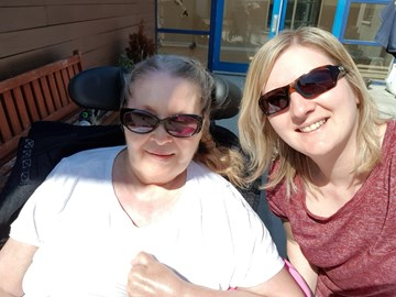Marilyn and I enjoying the sun at Deeview!