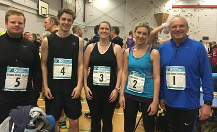 Before the race! (L to R) Joe, James, Tiffany, Lisa and Bernard