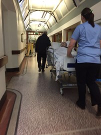 Being wheeled to theatre morning of surgery