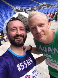 Me with Iwan Thomas at finish line of Reading Half Marathon