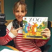 Mel Giedroyc kindly donated her voice for the audio that accompanies our Touch to See book of Zog.