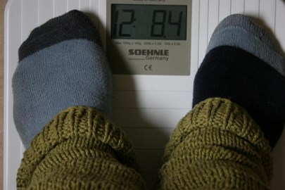 Me on the scales at a friends house.