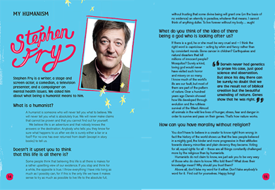 Stephen Fry is one of the famous humanists featured in the book