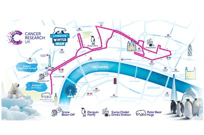 Map of the 10k route around London