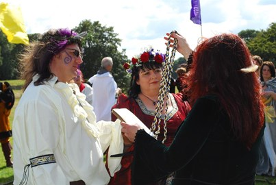 Andrew and Leslie at their Handfasting