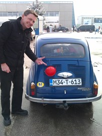 Adam with the red nose on the Zastava