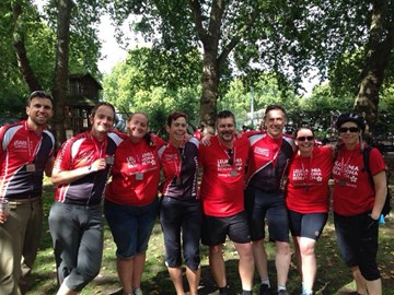 A triumphant & happy Team WeNo! Bikeathon 2014