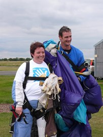 Angela ready to skydive