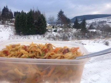 Al Fresco dining on snowy training walk