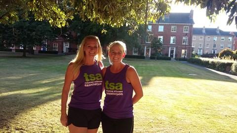 Our pre-10 miler....look how fresh we look!!