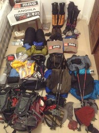 Equipment check with a week to go before setting off on our long journey.  Deli and Andrew leave Angola on 23 November, and will link up with Mike in Quito on 1 December.  Now what have we forgotten....??