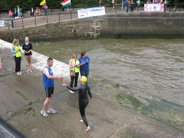 Finished the swim - now a 1k run