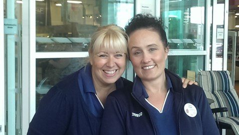 Lyndsey and Steph at the Tesco store in Prescot
