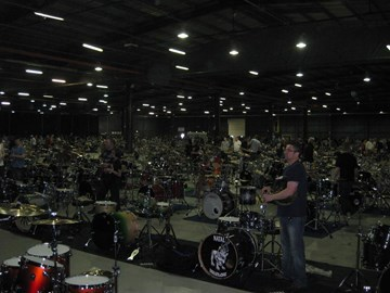 Drum geeks getting set up