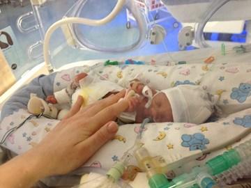 Heath in his incubator