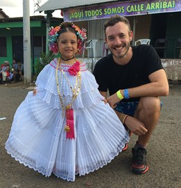 Cute girl with her traditional Panamanian ¨Pollera¨ dress!