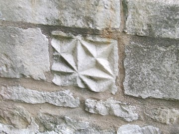 Diaper stonework, south wall of chancel