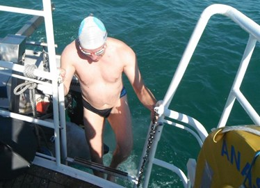 first swim about to start- 9.10am Sat