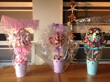 Sweet trees made by me and raffled at work raising £115 . Thanks to  all those that took part.