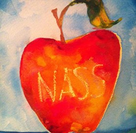 Orange Apple with NASS on it painted by the lovely Jennifer Dye Visscher for me as a gift .