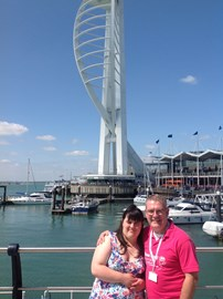 Katie and I in front of the Spinnaker Tower - It's a long way up!