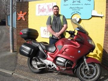 Jamie with his motorbike