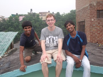 James with two Asha students in New Delhi