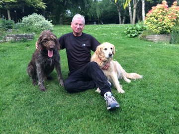 Tim with his running buddies, Bertie and Bonny!!