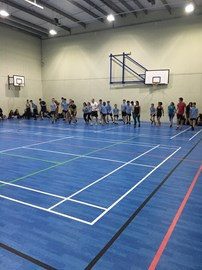 Bleep Test - Staff vs Students start line
