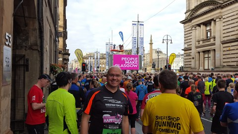 Getting ready to get started at the Great Scottish Run Glasgow