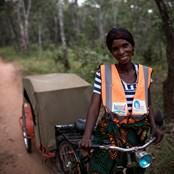 Rabbecca Chisenga and her bicycle ambulance