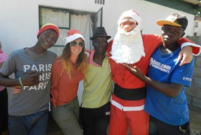 Christmas time at the Drop-In Centre. We gave donations of clothing and other essentials to the street children who visit the Drop-In Centre
