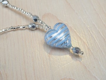 Blue/Silver Murano Heart Pendant.  Made by Rosey Lowry
