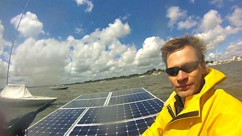 Simon on the solar boat