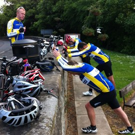 Team stretch during last event - Lancaster to Carlisle