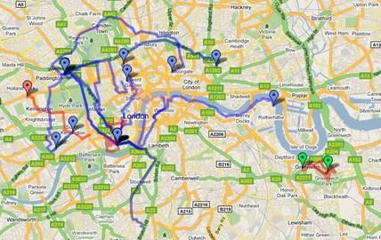 Map of my 17 walks in London 21/12