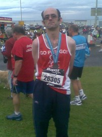 At the Great North Run finish area 2013