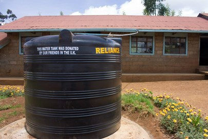 One of two water tanks presented to Gituamba School