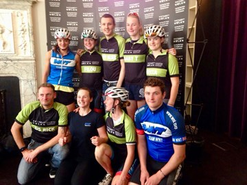 Ride London 100 in 2015 with Tom waiting at the finish