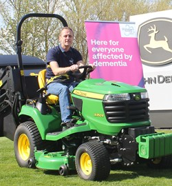 Me on the John Deere X950R - the mower we intend to take from John O'Groats to Lands' End