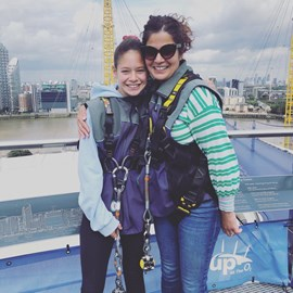 Nicky with her daughter after their O2 climb