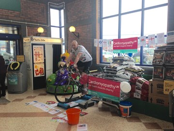 Coalville Morrisons static bike ride raised £595. Thanks to Morrisons and those that donated