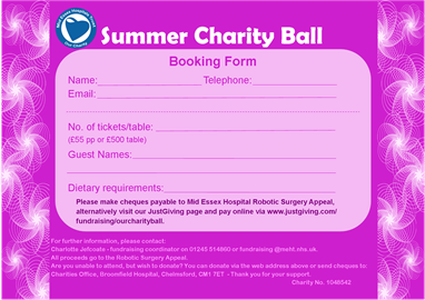 Charity Ball Booking Form